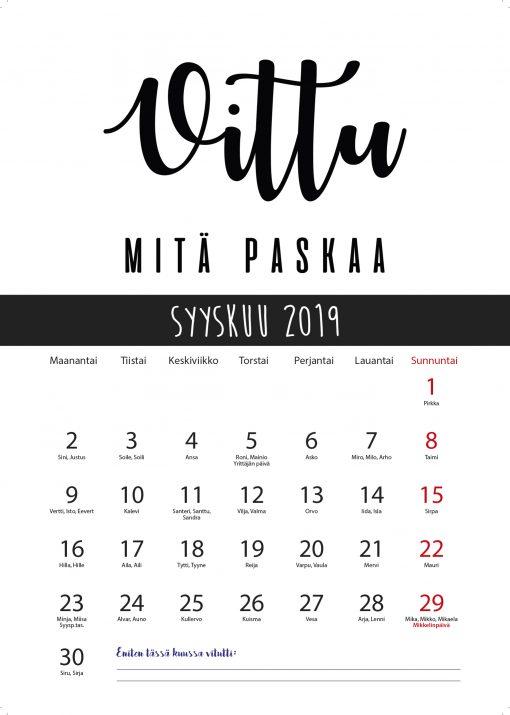 vittu mitä paskaa seinäkalenteri 2019