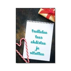 Trallalaa taas ahdistaa ja vituttaa joulukortti