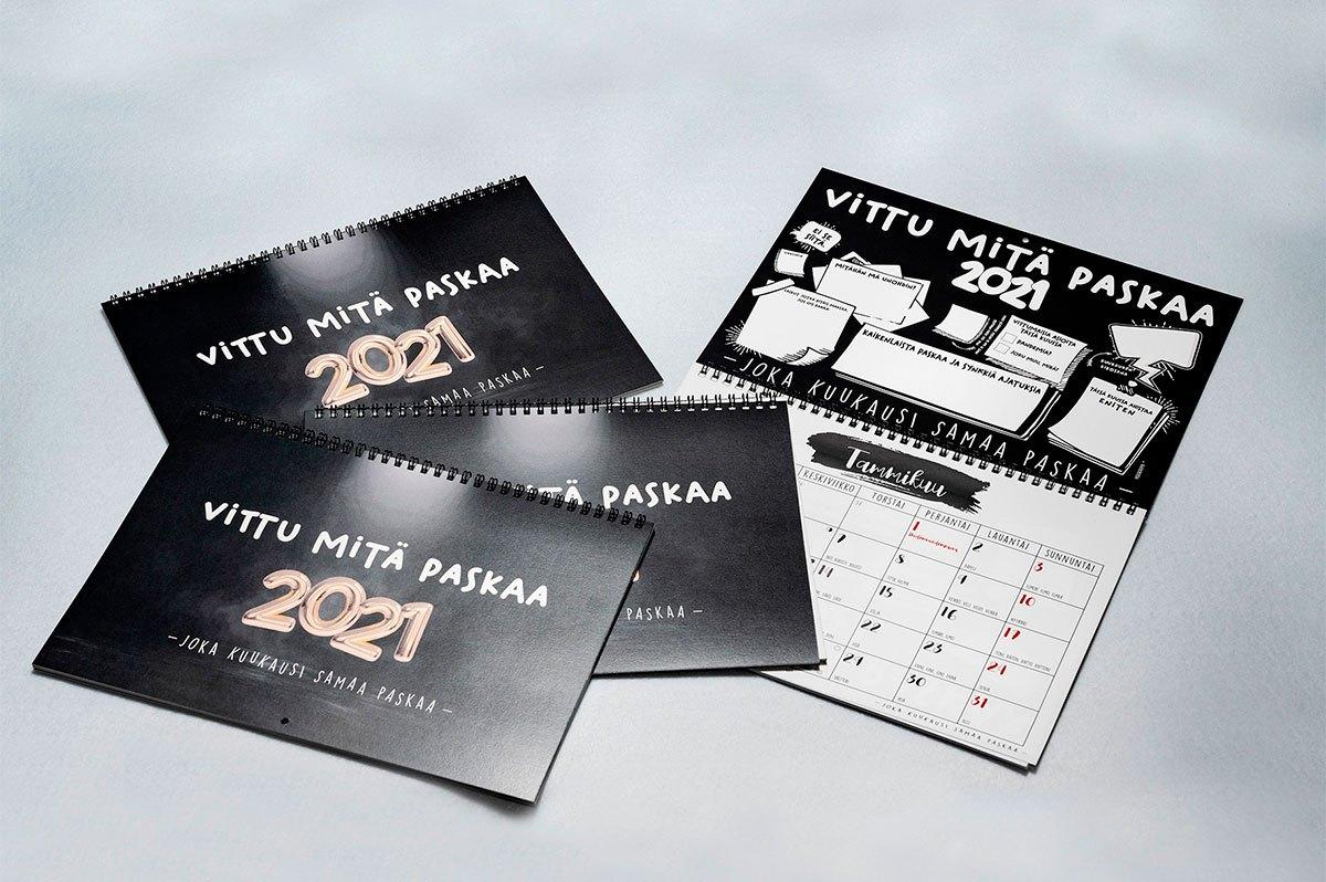 Vittu mitä paskaa seinäkalenteri 2021